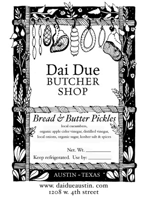 Bread & Butter Pickle jar label for Dai Due by Annie Taylor