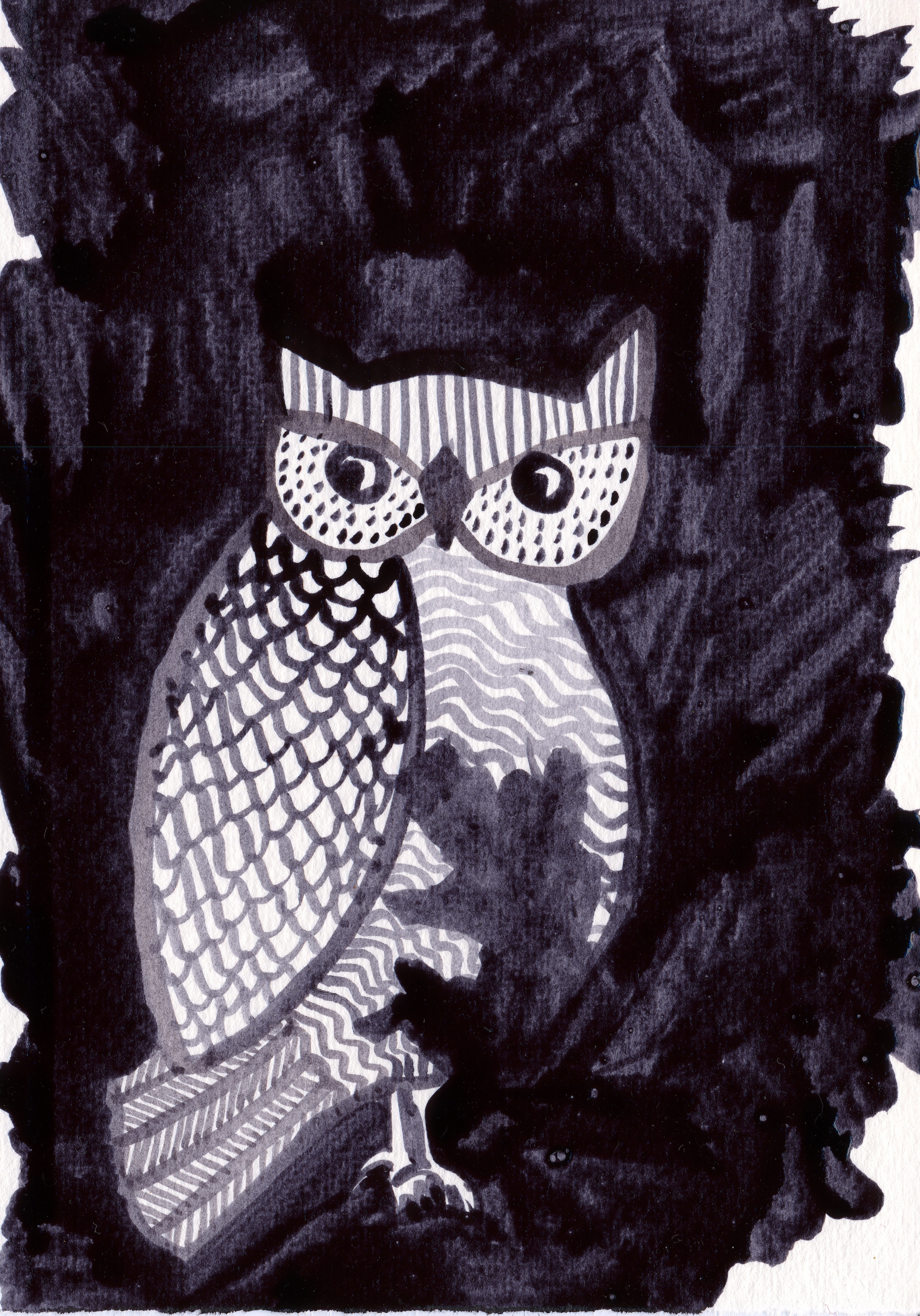 Halloween Card, Inky Owl, black ink painting by Annie Taylor