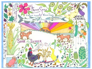 Savor Summer Colored and Laminated Placemat for Dai Due illustrated by Annie Taylor