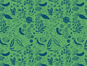 Flora Repeat in Blue on Green for Dai Due illustrated by Annie Taylor designed by Little Mule Studio