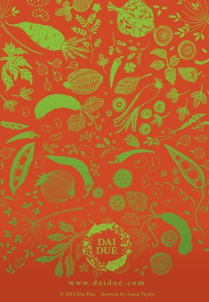"Flora for Dai Due 4""x6"" tent card illustrated by Annie Taylor, designed by Eye Like Design"