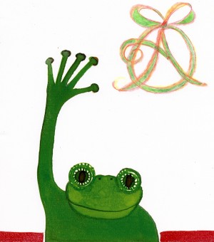 Animated Ideas for Annie's Omnium~ Frog Waving Bye illustration by Annie Taylor