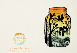 "Dai Due Deer in Jar 4""x6"" tent card illustrated by Annie Taylor, designed by Eye Like Design"
