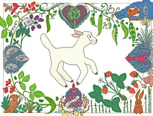 Spring Lamb Colored & Laminated Placemat for Dai Due illustrated by Annie Taylor