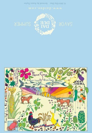 "Savor Summer 4""x6"" tent card for Dai Due illustrated by Annie Taylor, designed by Eye Like Design"