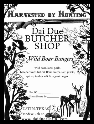 Wild Boar Bangers label for Dai Due illustrated by Annie Taylor