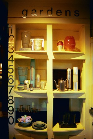 Visual Merchandising 'Gardens' Retail Shop, Austin, Texas Front Display Shelves with Henry Dean Glass