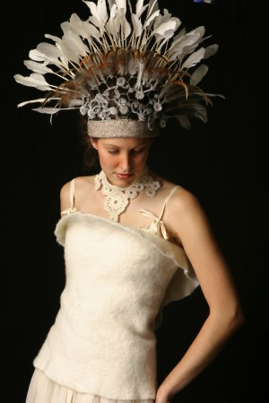 Wool Corset and Feather Headdress on Carmen for Winterize