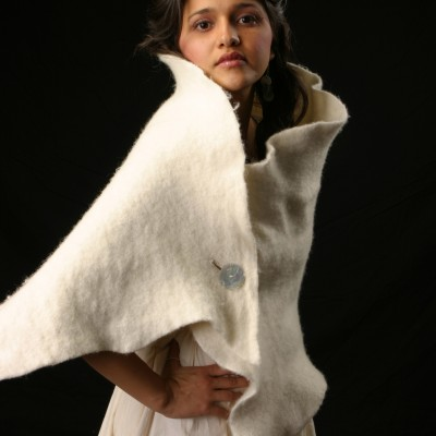 Hand felted Wool Sheep Shrug made by Annie Taylor