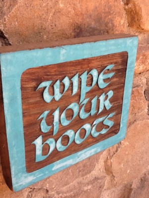 Fresh Configurations Longridge Lookbook Wipe Your Boots Hand Carved Sign by Dena Dierker
