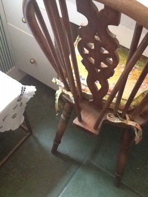 Fresh Configurations Longridge English Chair on Green Concrete Floors